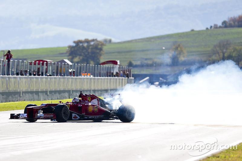 Sebastian Vettel, Ferrari performs a donut