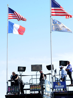 Michael Waltrip Racing flying the French flag in honor of the victims of the Paris terrorist attacks