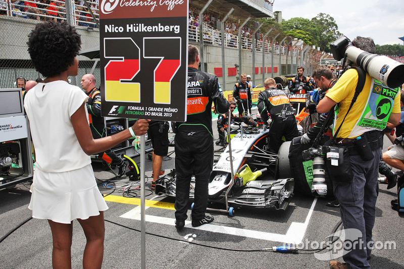 Nico Hülkenberg, Sahara Force India F1 VJM08, in der Startaufstellung