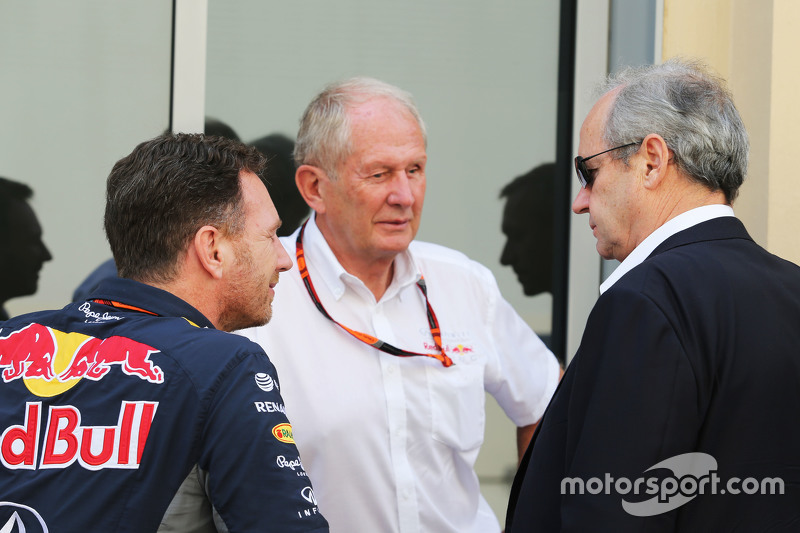 Christian Horner, Red Bull Racing, Teamchef, mit Dr. Helmut Marko, Red Bull, Motorsport-Berater, und Jerome Stoll, Renault Sport F1, Präsident