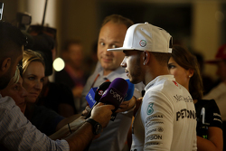Second place Lewis Hamilton, Mercedes AMG F1 with the media