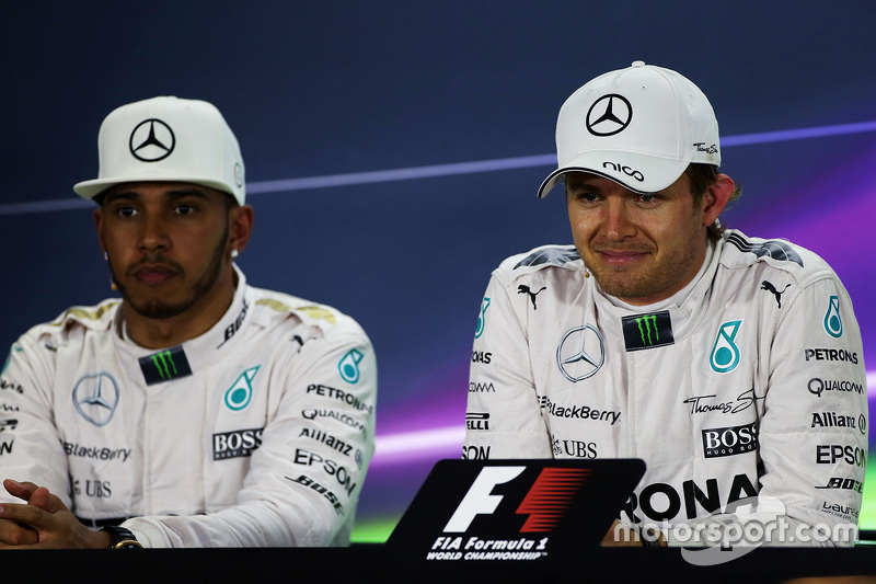 Second place Lewis Hamilton, Mercedes AMG F1 and polesitter Nico Rosberg, Mercedes AMG F1 in the post qualifying FIA Press Conference