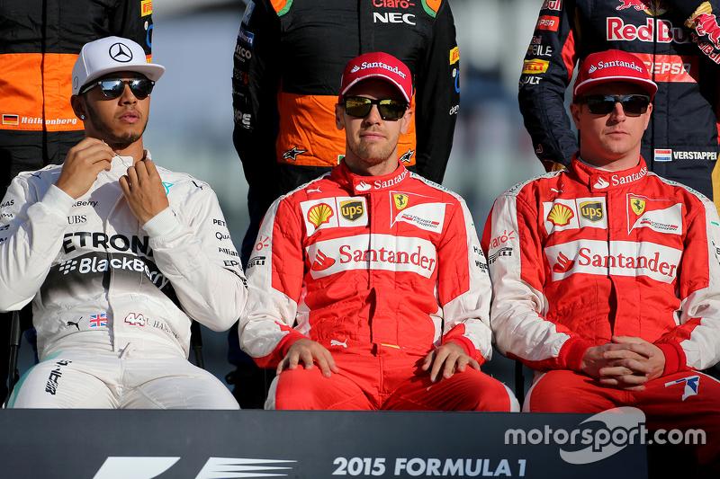 Lewis Hamilton, Mercedes AMG F1 Team; Sebastian Vettel, Scuderia Ferrari; Kimi Räikkönen, Scuderia F