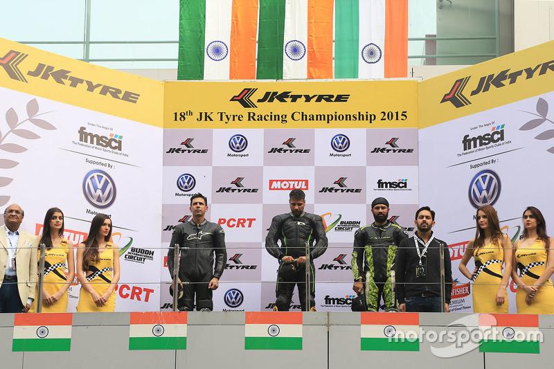 Podium: winner Simran Jeet, second place Deepak Ravi Kumar, third place Sandesh Prasanna