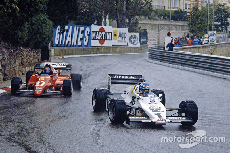Keke Rosberg, Williams leads Patrick Tambay, Ferrari