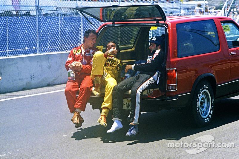 Race winner Keke Rosberg, Williams, second place René Arnoux, Ferrari, third place Elio de Angelis,