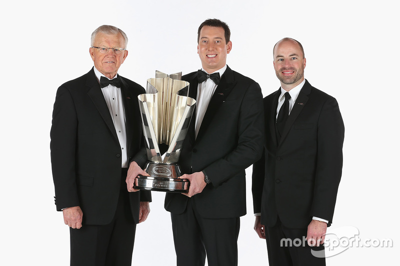 Joe Gibbs and 2015 NASCAR Sprint Cup Champion Kyle Busch and crew chief Adam Stevens