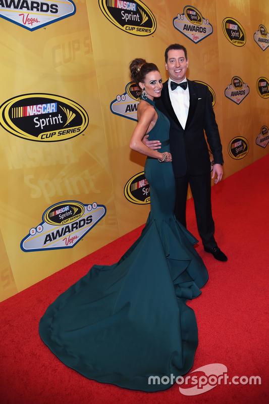 Kyle Busch, Joe Gibbs Racing Toyota with wife Samantha