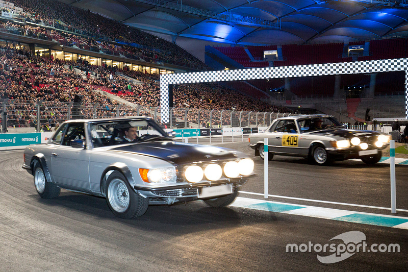 Toto Wolff in classic Mercedes