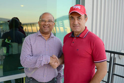 Jean Alesi and Arun Mammen, MRF Managing Director and Executive Director