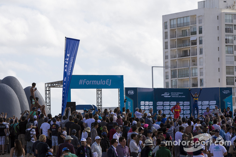 Podium: race winner Sébastien Buemi, Renault e.Dams, second place Lucas di Grassi, ABT Schaeffler Audi Sport, third place Jérôme d'Ambrosio, Dragon Racing
