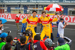 Winners Sean Gelael and Antonio Giovinazzi