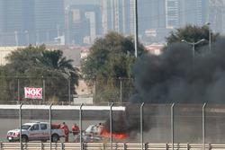 #16 Black Falcon Mercedes SLS AMG GT3: Adam Christodoulou, Oliver Webb, Patrick Assenheimer, Oliver Morley, Frank Montecalvo stopped on track by fire