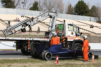 The Scuderia Toro Rosso STR11 of Max Verstappen, Scuderia Toro Rosso is recovered back to the pits on the back of a truck