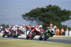 Jonathan Rea, Kawasaki Racing Team, Chaz Davies, Aruba.it Racing - Ducati Team et Michael van der Mark, Honda WSBK Team