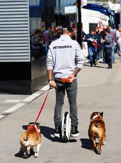 Льюис Хэмилтон, Mercedes AMG F1 на ховерборде в паддоке со своими собаками Роско и Коко