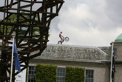 Dougie Lampkin takes to the roof of Goodwood House