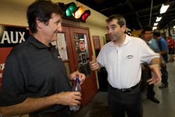 Drivers and media go-kart event: Ron Fellows and Bertrand Godin share a laugh after a practical joke