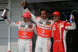Heikki Kovalainen, McLaren Mercedes and Lewis Hamilton, McLaren Mercedes and Felipe Massa, Scuderia Ferrari