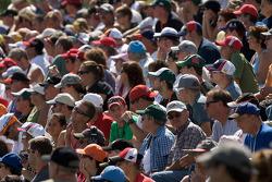 Watkins Glen fans watch drivers intro