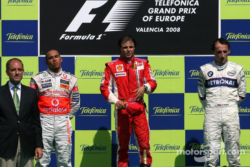 2008. Валенсія. Подіум: 1. Феліпе Масса, Ferrari. 2. Льюіс Хемілтон, McLaren-Mercedes. 3. Роберт Кубіца, BMW Sauber
