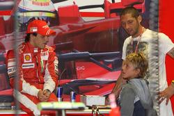 Felipe Massa, Scuderia Ferrari with Marco Materazzi, Italian Football player for Inter Milan, and his son