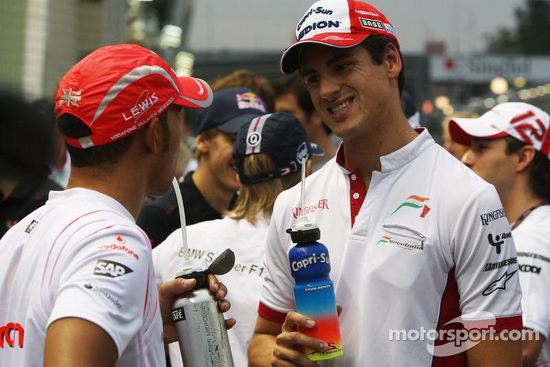 Adrian Sutil, Force India F1 Team y Lewis Hamilton, McLaren Mercedes