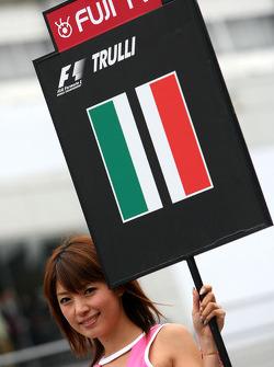 Grid girl, Jarno Trulli, Toyota F1 Team
