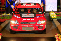 Gaurav Gill and co-driver Jagdev Singh,  Mitsubishi Lancer Evo 9 for MRF Tyres Rally Team