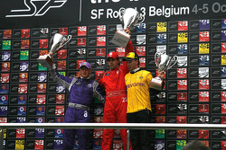 The podium; 1st Adrian Valles - Liverpool FC, 2nd Craig Dolby - RSC Anderlecht Astromega, 3rd Paul Meijer - Borussia Dortmund