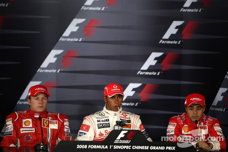 Conferencia de prensa de la FIA: Ganador de la pole Lewis Hamilton, segundo Kimi Raikkonen y tercero Felipe Massa