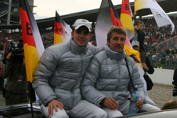 Driver parade with Jamie Green, Team HWA AMG Mercedes and retiring DTM driver Bernd Schneider, Team HWA AMG Mercedes