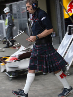 Red Bull Racing team member wearing a kilt