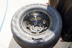 Tire off Robby Gordon's wrecked #7 Mapei/Menards Dodge