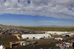 A view of the midway and hospitality area
