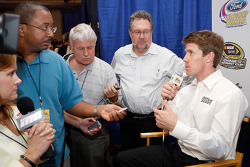Carl Edwards speaks with members of the media following the 2008 Championship Contenders Press Conference