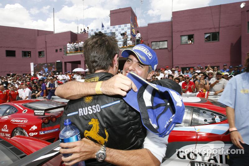 GT2 class winners Matias Russo and Luis Perez Companc celebrate