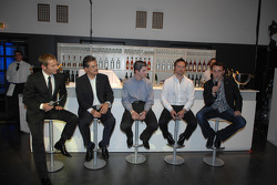 Dr Mario Theissen with BMW drivers FBMW Alexander Rossi, WTCC Andy Priaulx, and BMW Sauber F1 Team driver Robert Kubica