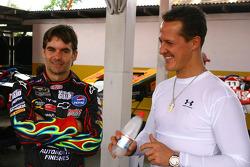 Jeff Gordon, NASCAR driver and Michael Schumacher, Test Driver, Scuderia Ferrari