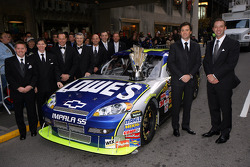 2008 NASCAR Sprint Cup Champion Jimmie Johnson poses with crew chief Chad Knaus and the No. 48 Lowe's Chevrolet crew prior to the NASCAR Sprint Cup Series Awards Ceremony at The Waldorf=Astoria