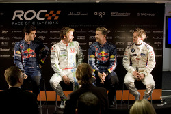 Mark Webber, Jenson Button, David Coulthard and Andy Priaulx at the Race of Champions media preview press conference
