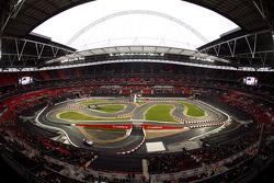 Lewis Hamilton on track in the McLaren Mercedes SLR