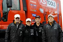 Team FleetBoard Mercedes-Benz: #365 Mitsubishi Pajero: Tino Schmidt and Stephan Schott, Mitsubishi Pajero, Mercedes Unimog driver Thomas Wallenwein, with media manager Ellen Lohr