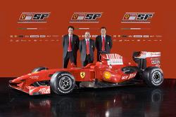Chief designer Nicholas Tombazis, head of engine department Gilles Simon, chief designer Aldo Costa and the new Ferrari F60