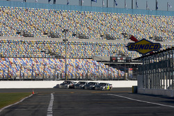 Hendrick Motorsports' 25th anniversary season car unveiling event: Dale Earnhardt Jr., Jimmie Johnson, Jeff Gordon and Mark Martin make a lap around the track