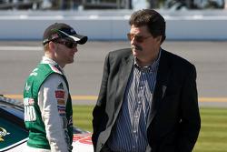Dale Earnhardt Jr., Hendrick Motorsports Chevrolet, talks with NASCAR President Mike Helton