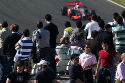 Fans watch Lewis Hamilton, McLaren Mercedes