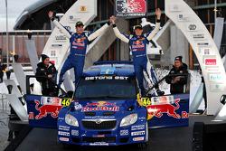 Podium: Patrik Sandell, Emil Axelsson, Skoda Fabia S2000, Red Bull Rallye Team