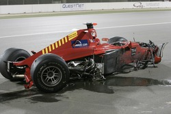 The debris from the start line crash involving Sakon Yamamoto and Yelmer Buurman
