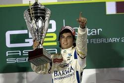 Podium: winner Sergio Perez